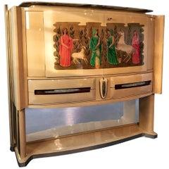 Italian Parchment Bar Cabinet by Vittorio Dassi, expression of Gio Ponti, 1940s