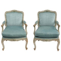 Pair of Louis XV Style Armchairs à Châssis, Blue Velvet, 1900 Period