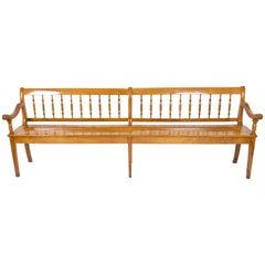 19th Century Biedermeier Large Cherry Farmhouse Seat Bench