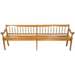 19th Century Biedermeier Large Cherry Farmhouse Seat Bench