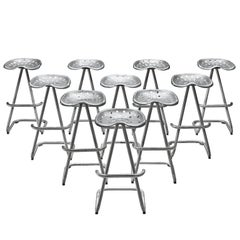 """Set of Ten """"Tractor"""" Silver Stools, 1960s"""