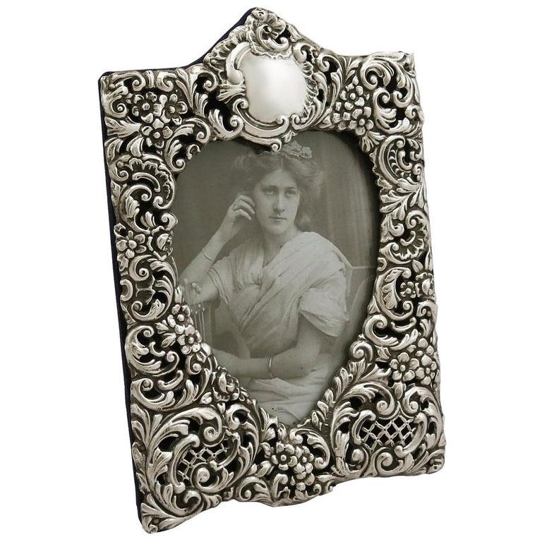 Antique Edwardian Sterling Silver Photograph Frame, 1901 For Sale