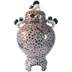 Large Japanese Blue Contemporary Gilded Lidded Porcelain Vessel by Master Artist
