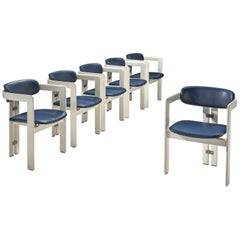Augusto Savini Set of Six 'Pamplona' Chairs in Blue Leather