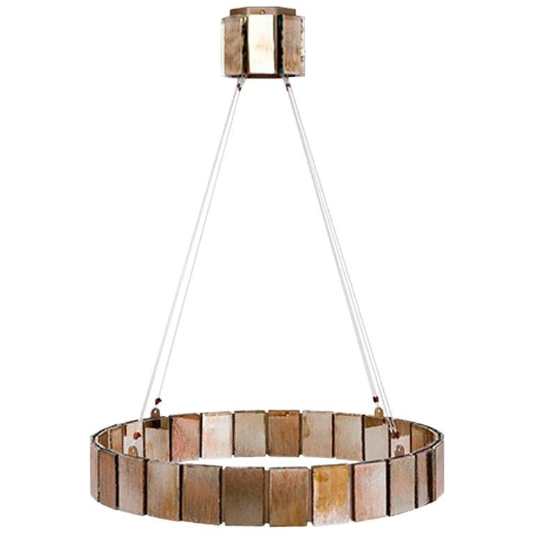 Pendant Lamp Suspension with Silvered Glass Sheets For Sale