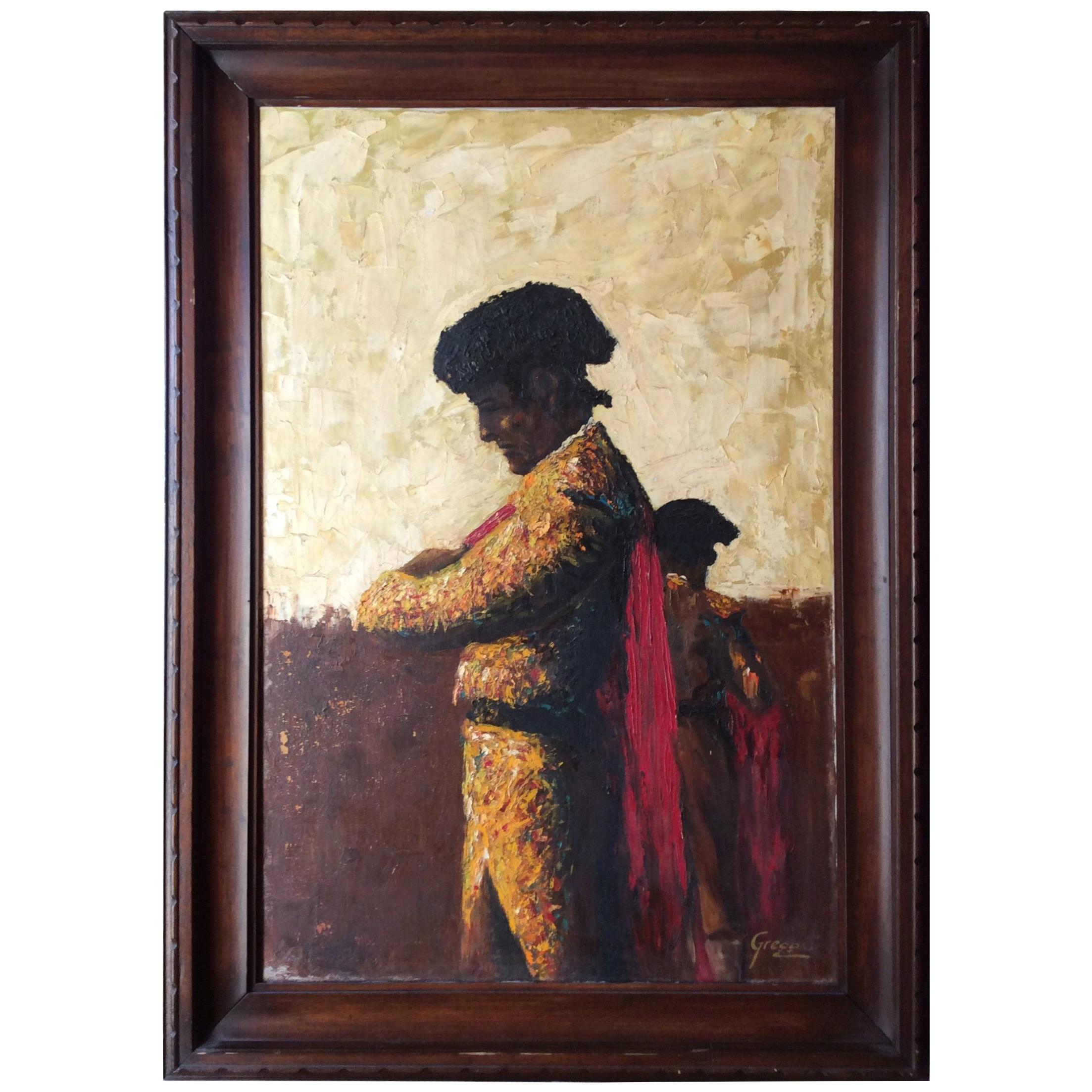 Painting of a Spanish Matador Oil on Canvas Signed Greco