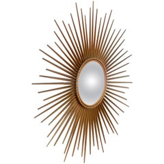 French Chaty Vallauris Sunburst Mirror, 1960s