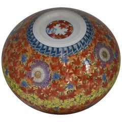 Japanese Large Gilded Red Yellow Imari Porcelain Vase by Master Artist, 2018