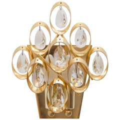 Palwa Crystal and Brass Wall Sconce, Germany