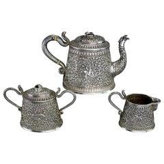 Indian Kutch Silver Tea Service Set, circa 1900