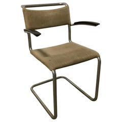 1930, W.H. Gispen, Original Very Early 204 Chair with Horse Hair Filling