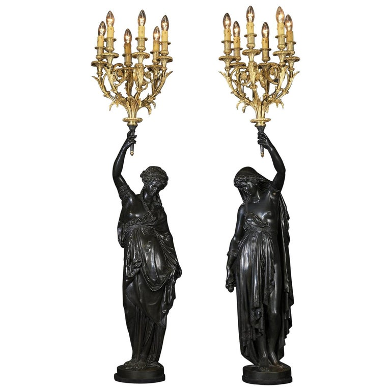 Pair of Bronze Figural Torcheres by Albert Ernest Carrier-Belleuse, circa 1880 For Sale