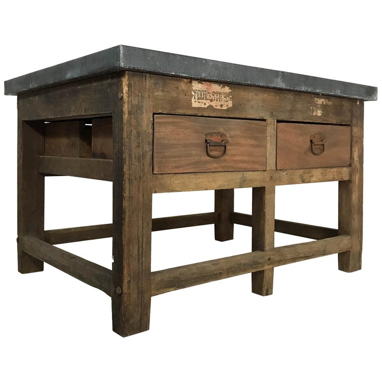Vintage Industrial Pine Printers Table Zinc Top Kitchen Island Worktable For Sale