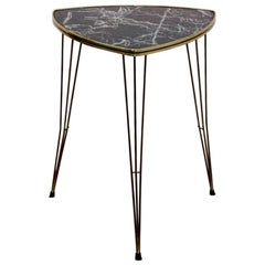 Formica and Brass Tripod Side Table with Marble Print, 1950s Belgium