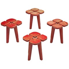 Lisa Johansson-Pape Set of Four Red 'Apila' Stools in Pine