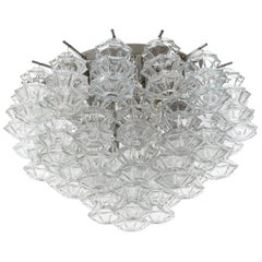 Kalmar Flush Mount Light Fixture 'Pagoda', Glass Nickel, 1970, One of Four