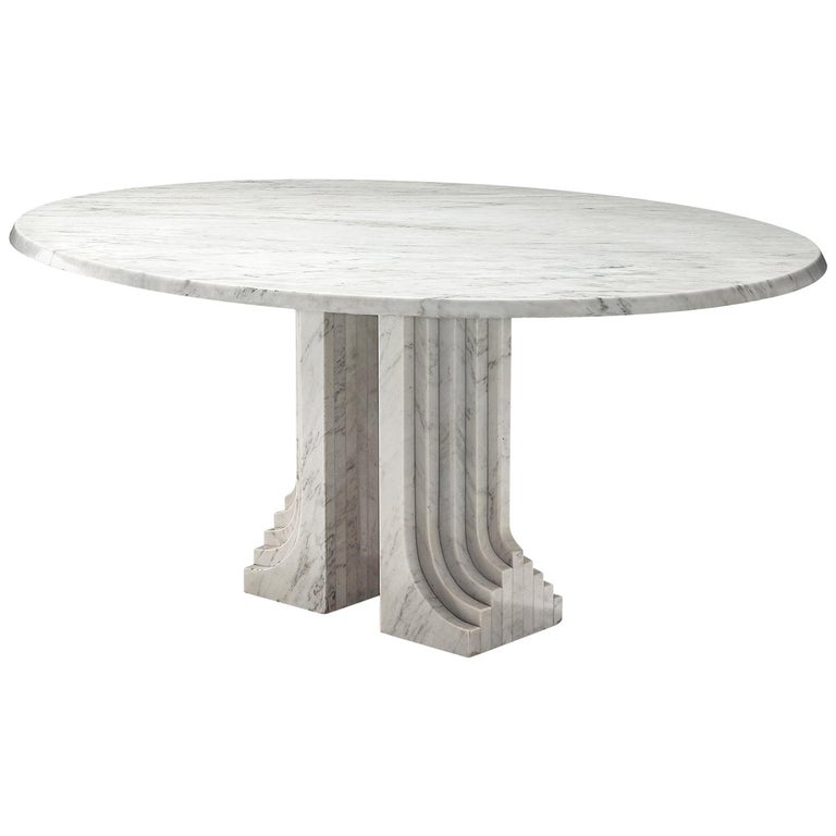 Italian Oval Dining Table in White Marble For Sale