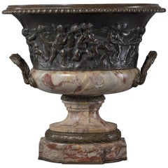 Louis XVI Style Patinated Bronze and Marble Jardinière after Clodion, circa 1870