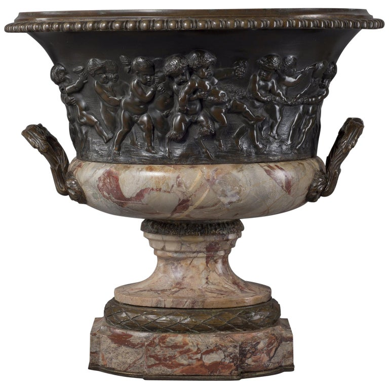 Louis XVI Style Patinated Bronze and Marble Jardinière after Clodion, circa 1870 For Sale