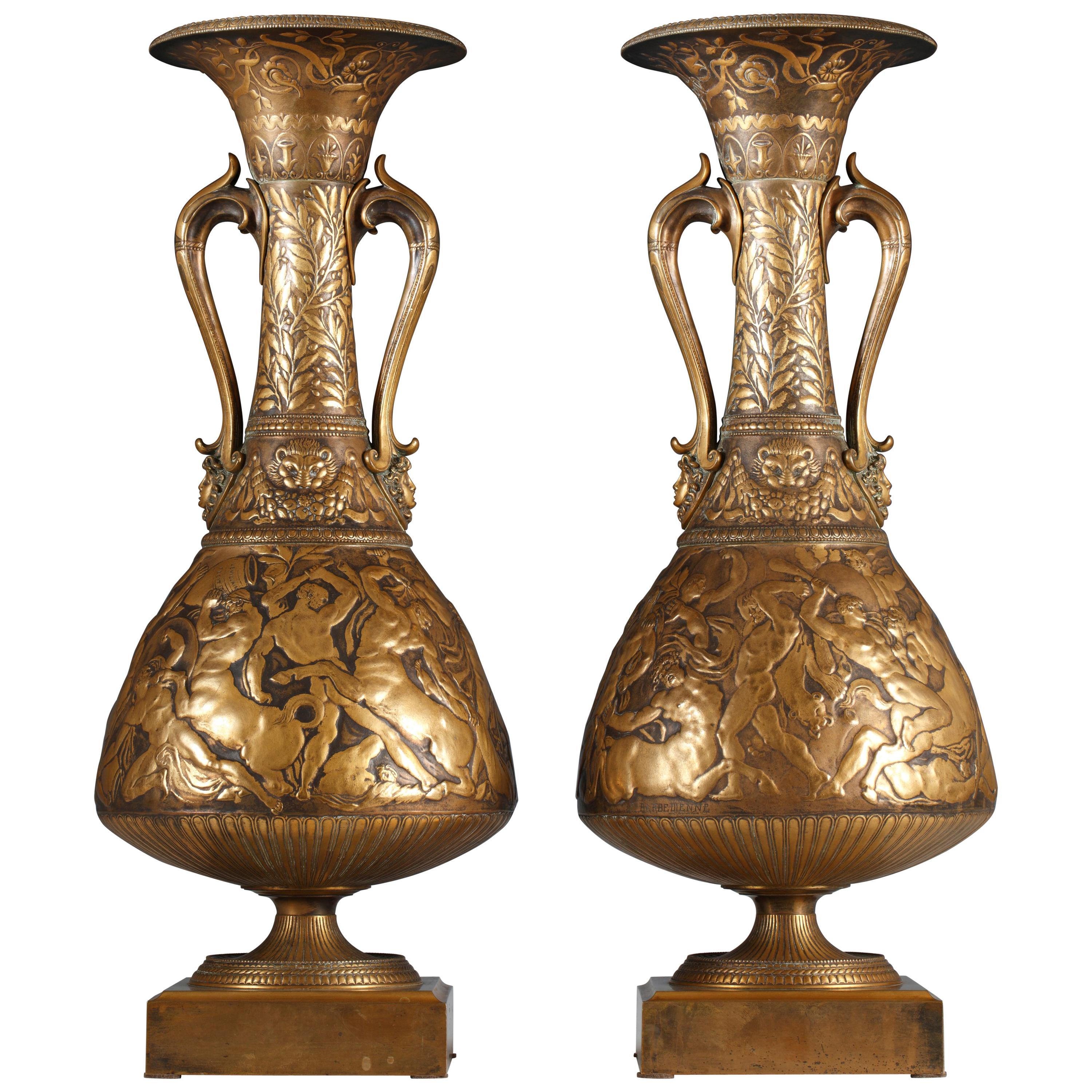 Pair of Neo-Greek Amphoras Vases by F. Levillain and F. Barbedienne