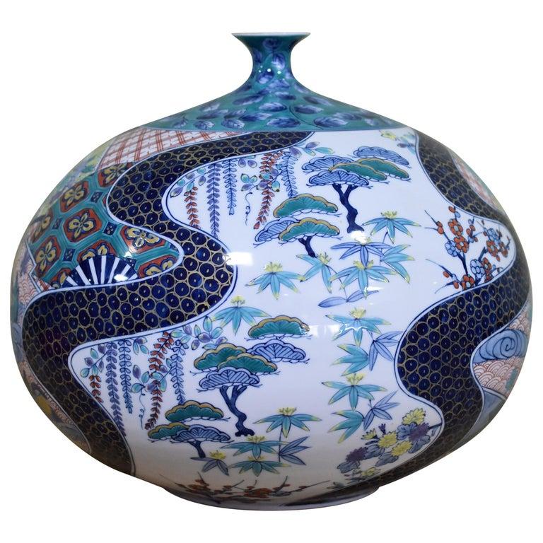 Japanese Large Contemporary Blue Red Porcelain Vase by Master Artist For Sale