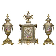 Fine Napoléon III Gilt-Bronze Mounted Porcelain Clock Garniture, circa 1870