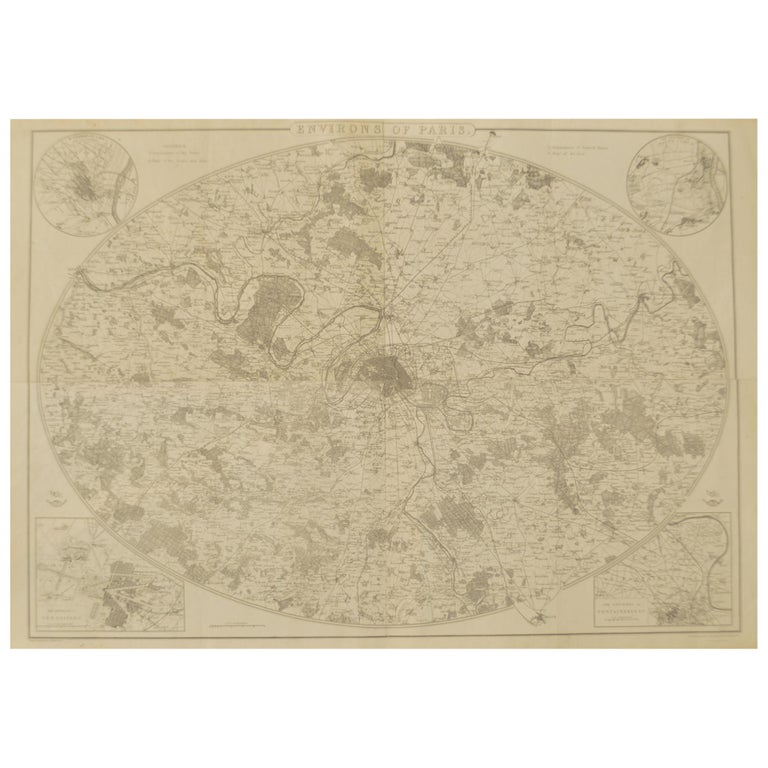 Original Large Antique Map of Paris, France by John Dower, 1861.