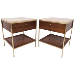 Pair of Paul McCobb for Calvin End Tables with Travertine Tops