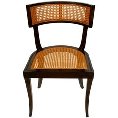 Set of 4 Modern Klismos Style Caned Curved Side Chairs