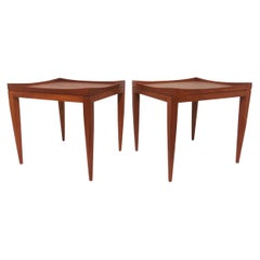 Poul M. Jessen Danish Teak End Tables with Removable Tray Tops circa 1960s, Pair