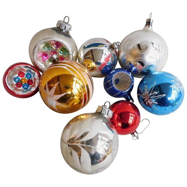 Nine Vintage German Mercury Glass Christmas Tree Ornaments
