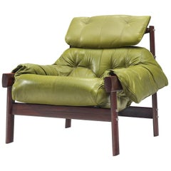 Percival Lafer Lounge Chair in Green Leather and Rosewood