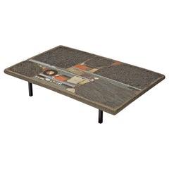 Paul Kingma Slate and Ceramic Stone Coffee Table