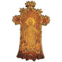 Art Nouveau Antonio Gaudí Style Jesus Christ Polychrome Bas Relief Stucco