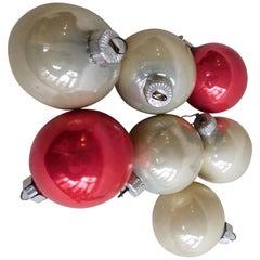 Sieben Deutsche Vintage Weihnachtsbaum Ornamente aus Mercury-Glas