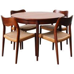 Danish Dining Room Set by Niels Otto Moller Model 76 Chairs Papercord Teak 1950s