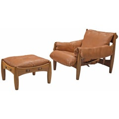 Sergio Rodrigues, 'Sheriff' Lounge Chair with Ottoman in Original Cognac Leather