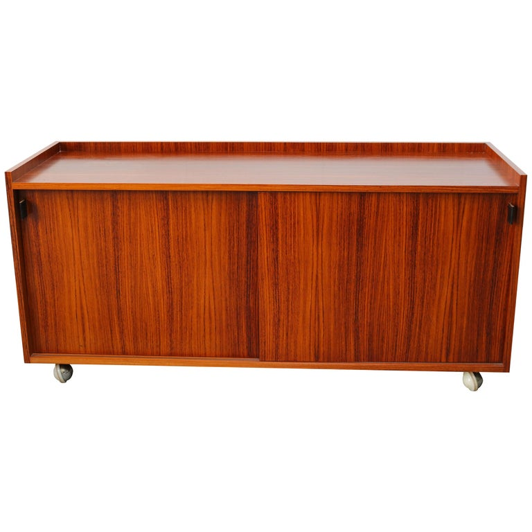 Design Sideboard / Cabinet by Florence Knoll for De Coene Leather Rosewood 1960 For Sale