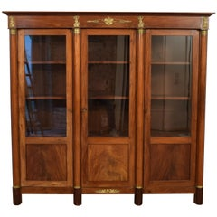 Early 19th Century Antique French Empire Mahogany Display Cabinet/Bookcase