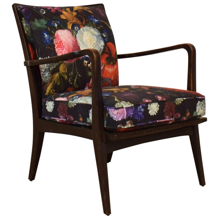Art Deco Armchair by Knoll Antimott with Flower Upholstery, circa 1928 For Sale