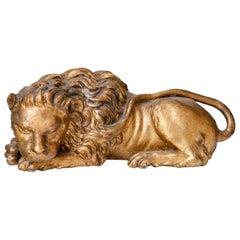 Italian Giltwood Lion, 19th Century
