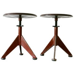 Set of Two Industrial Workshop Stools by AB Odelberg-Olson, 1930s, Sweden