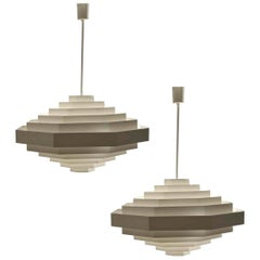 Pair of Large Bright White Metal Octagonal Origami Chandeliers by Spectral, 1970