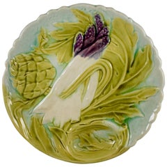 Orchies French Art Nouveau Faïence Majolica Asparagus & Artichoke Plate, 1880s