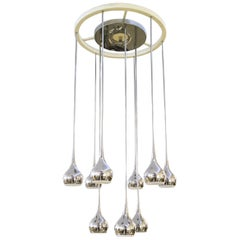 Chrome and White Ceramic Mid-Century Modern Chandelier by Esperia, Signed