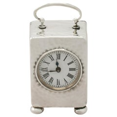 Victorian Sterling Silver Boudoir Clock