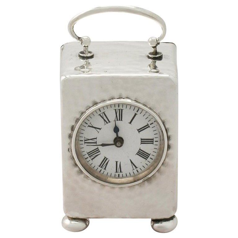 Victorian Sterling Silver Boudoir Clock For Sale