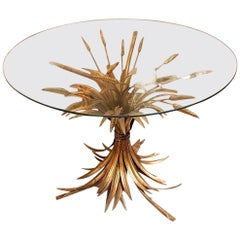 French Mid-Century Modern Gilt Wheat Leaf Coffee/Side Table, Coco Chanel Style