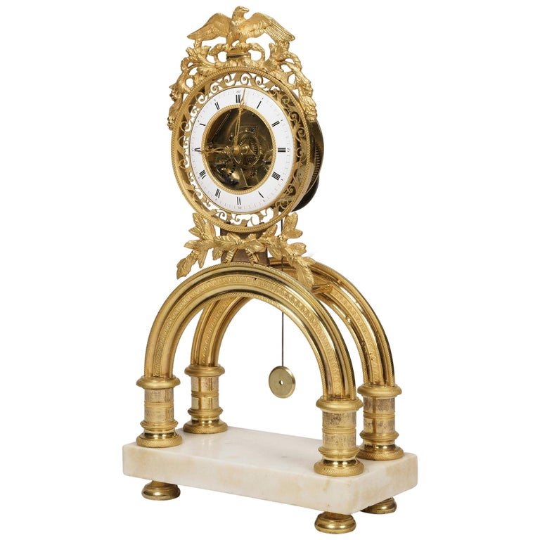 19th Century French Skeleton Clock of Ormolu and Marble from Directoire Period For Sale
