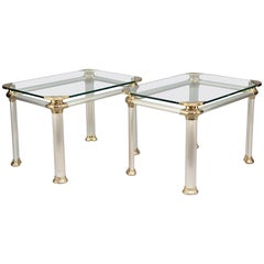 Pair of Brushed Steel, Brass and Glass Side Tables